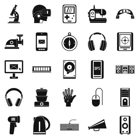 security monitor: Medical equipment icons set, simple style