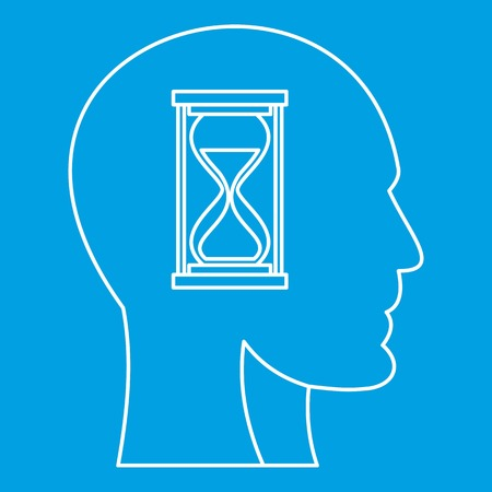 Hourglass inside human head icon and outline style