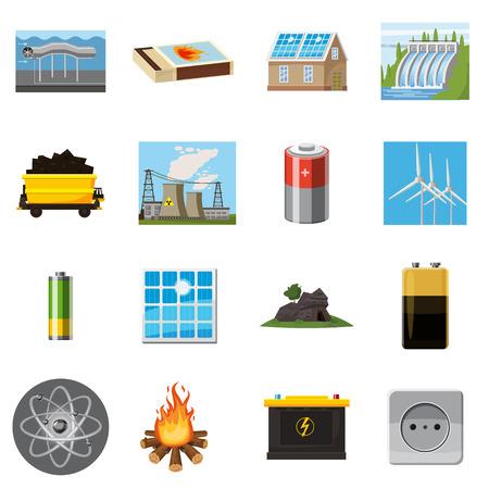 Energie bronnen items iconen set, cartoon stijl