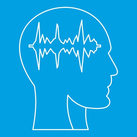 Equalizer inside human head icon blue outline style isolated vector illustration. Thin line sign Illusztráció