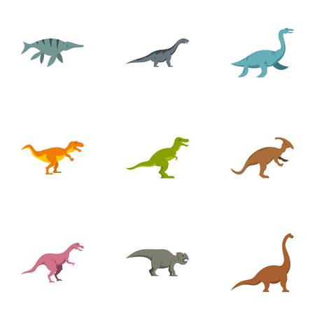 deinonychus: Different dinosaur icons set. Flat set of 9 different dinosaur vector icons for web isolated on white background