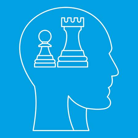 Chess inside human head icon blue outline style isolated vector illustration. Thin line sign