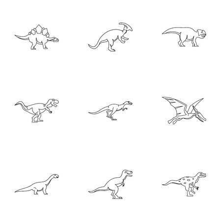 deinonychus: Different dinosaur icons set. Outline set of 9 different dinosaur vector icons for web isolated on white background