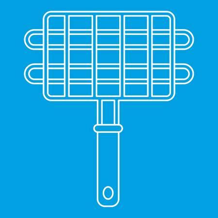Metall-Grill für Barbecue-Symbol blau Umriss Stil isoliert Vektor-Illustration. Dünnes Linienschild