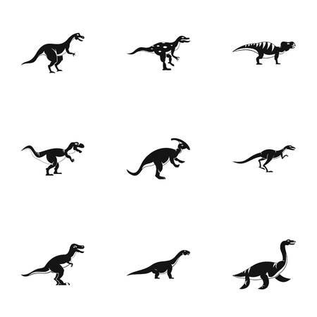 deinonychus: Different dinosaur icons set. Simple set of 9 different dinosaur vector icons for web isolated on white background