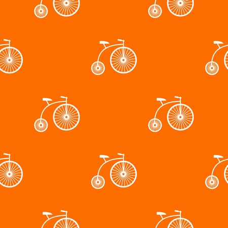 Penny-farthing pattern repeat seamless in orange color for any design. Vector geometric illustration