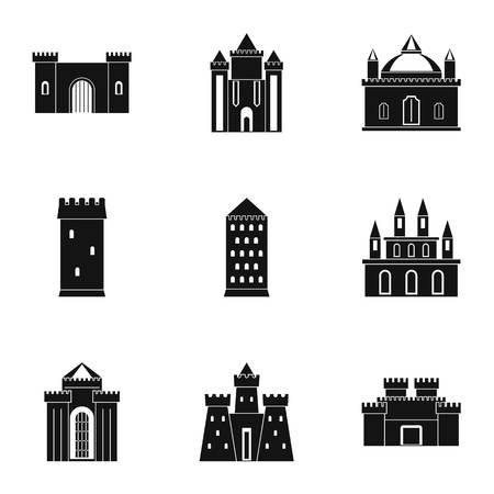 citadel: Castles icon set. Simple style set of 9 castles vector icons for web isolated on white background
