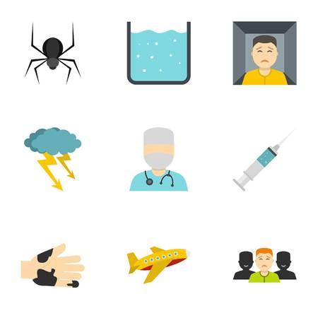 Phobia symbols icon set. Flat style set of 9 phobia symbols vector icons for web isolated on white background
