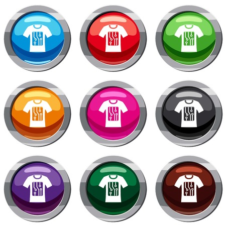 sleeve: Electronic t-shirt set icon isolated on white. 9 icon collection vector illustration