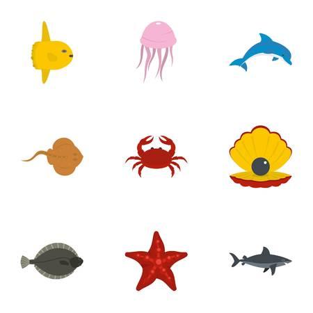 Zeedieren pictogrammen instellen. Platte set van 9 zee dieren vector iconen voor web geïsoleerd op een witte achtergrond