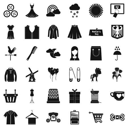 hangers: Dress icons set. Simple style of 36 dress vector icons for web isolated on white background