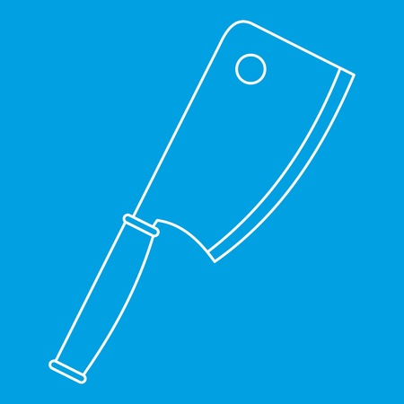 polished: Kitchen ax icon blue outline style isolated vector illustration. Thin line sign