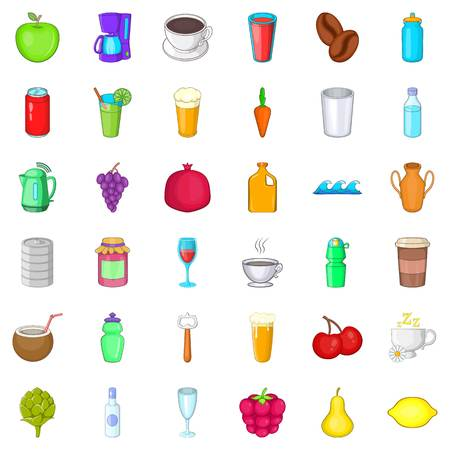 can opener: Drink icons set. Cartoon style of 36 drink vector icons for web isolated on white background