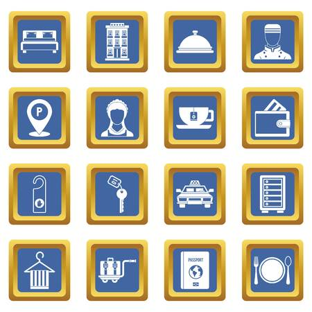 hangers: Hotel icons set in blue color isolated vector illustration for web and any design