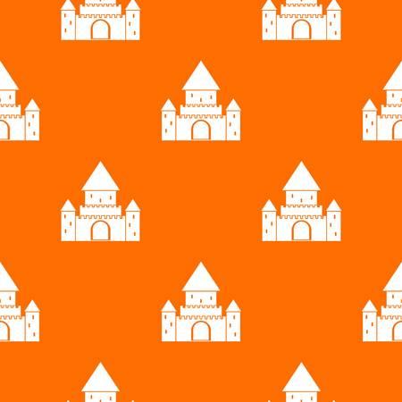 Chillon Castle, Switzerland pattern repeat seamless in orange color for any design. Vector geometric illustration