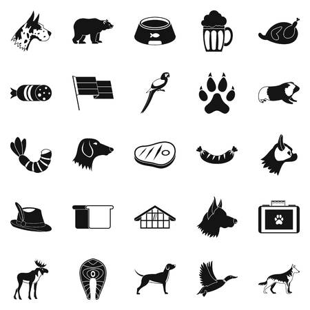 Cur icons set. Simple set of 25 cur vector icons for web isolated on white background Иллюстрация