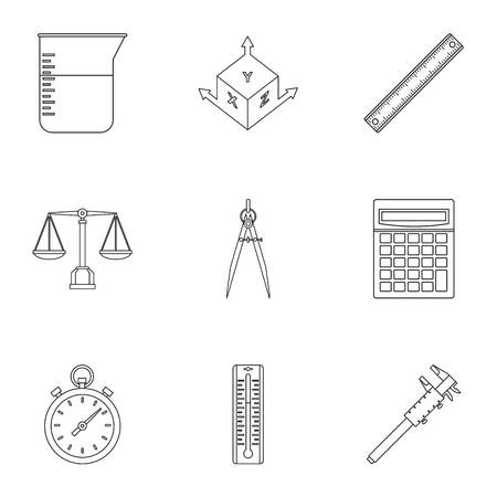 height measure: Measure instrumentation icon set. Outline style set of 9 measure instrumentation vector icons for web isolated on white background