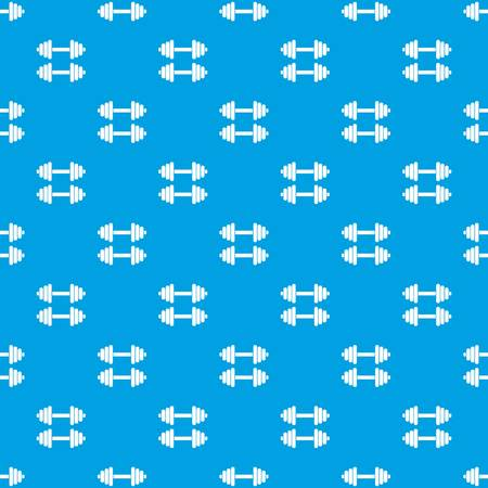heavy: Two dumbbells pattern repeat seamless in blue color for any design. Vector geometric illustration
