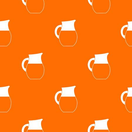 creamer: Pitcher of milk pattern repeat seamless in orange color for any design. Vector geometric illustration