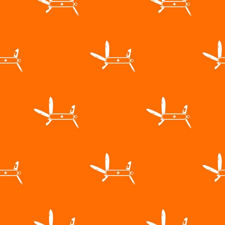 Swiss multipurpose knife pattern repeat seamless in orange color for any design. Vector geometric illustration