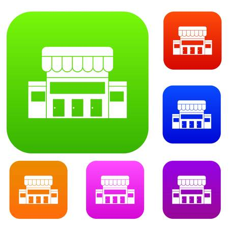 office building: Supermarket building set icon in different colors isolated vector illustration. Premium collection