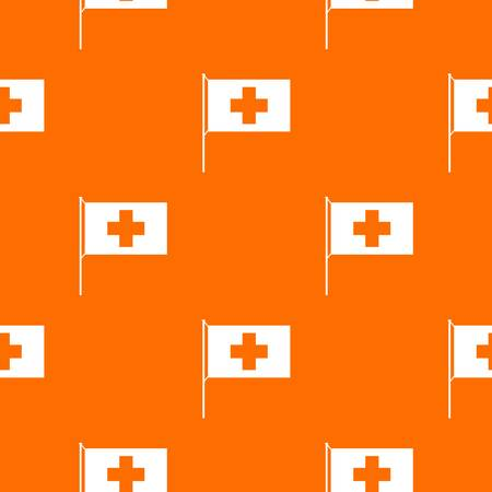 europe closeup: Switzerland flag pattern repeat seamless in orange color for any design. Vector geometric illustration