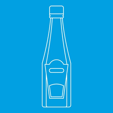 Bottle of ketchup or mustard icon blue outline style isolated vector illustration. Thin line sign Illustration