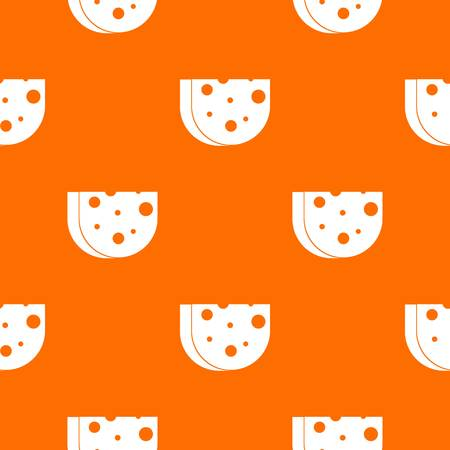 europe closeup: Piece of Swiss cheese pattern repeat seamless in orange color for any design. Vector geometric illustration Illustration