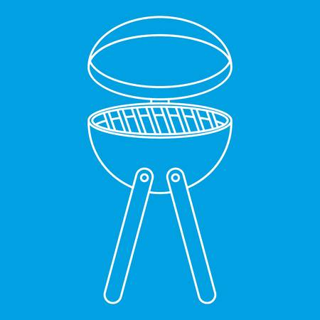 hot dog: Picnic cooking barbecue device icon blue outline style isolated vector illustration. Thin line sign Illustration