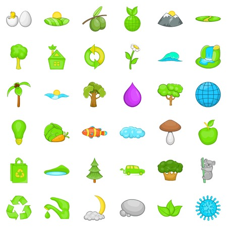 Green planet icons set. Cartoon style of 36 green planet vector icons for web isolated on white background Ilustrace