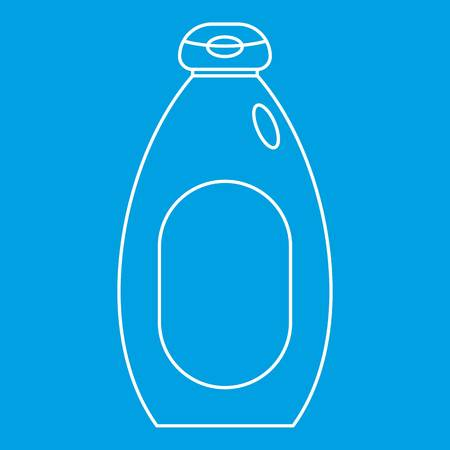 Cosmetic bottle icon blue outline style isolated vector illustration. Thin line sign