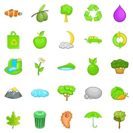 Environmental pollution icons set. Cartoon set of 25 environmental pollution vector icons for web isolated on white background