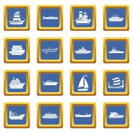 Sea transport icons set in blue color isolated vector illustration for web and any design