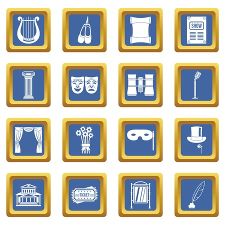 Theater icons set in blue color isolated vector illustration for web and any design Illustration