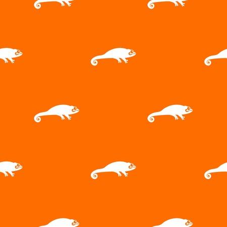 Chameleon pattern repeat seamless in orange color for any design. Vector geometric illustration
