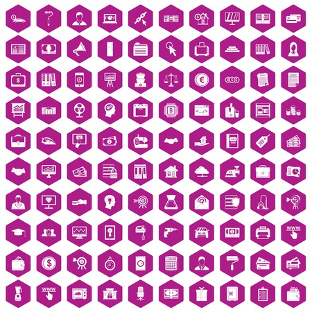 100 lending icons set in violet hexagon isolated vector illustration Illustration