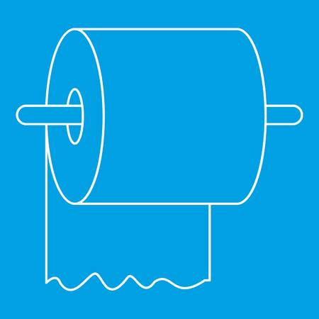 Toilet paper on holder icon blue outline style isolated vector illustration. Thin line sign