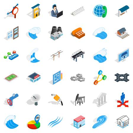 Electricity icons set. Isometric style of 36 electricity vector icons for web isolated on white background Vetores