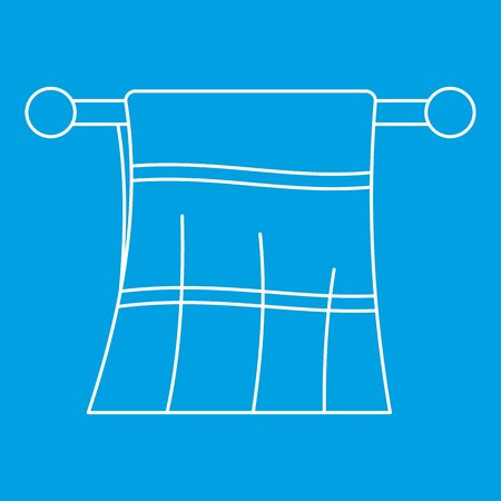 hangers: Clean towel on a hanger icon blue outline style isolated vector illustration. Thin line sign