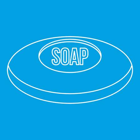 Piece of soap icon blue outline style isolated vector illustration. Thin line sign