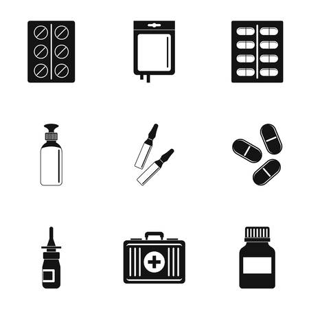case: Medication icon set. Simple style set of 9 medication vector icons for web isolated on white background