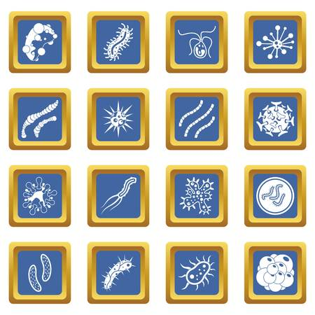 Virus bacteria icons set in blue color isolated vector illustration for web and any design