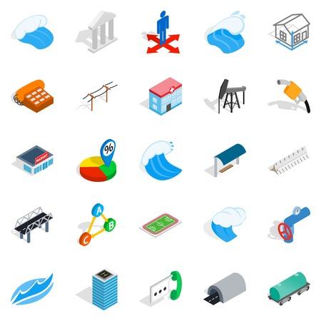 Street lighting icons set. Isometric set of 25 street lighting vector icons for web isolated on white background