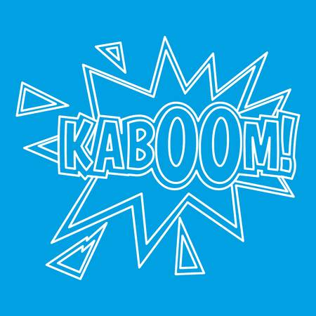 Kaboom, comic book explosion icon blue outline style isolated vector illustration. Thin line sign