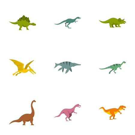 deinonychus: Types of dinosaur icons set. Flat set of 9 types of dinosaur vector icons for web isolated on white background
