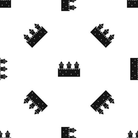 Medieval wall and towers pattern repeat seamless in black color for any design. Vector geometric illustration