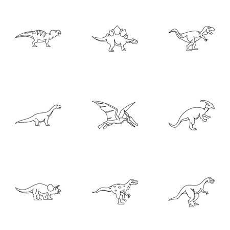 deinonychus: Types of dinosaur icons set. Outline set of 9 types of dinosaur vector icons for web isolated on white background Illustration