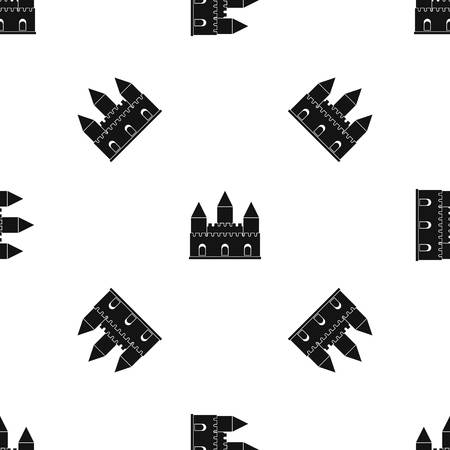 citadel: Castle tower pattern repeat seamless in black color for any design. Vector geometric illustration Illustration
