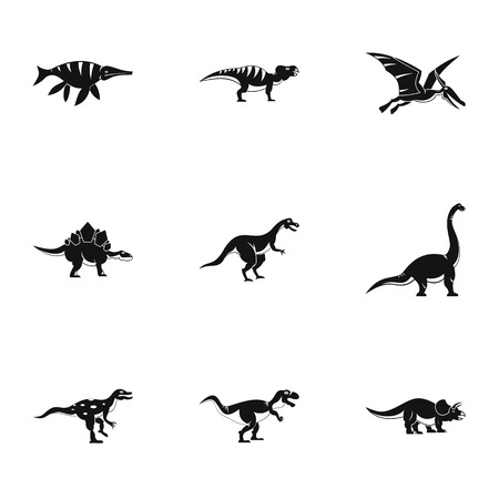 deinonychus: Types of dinosaur icons set. Simple set of 9 types of dinosaur vector icons for web isolated on white background