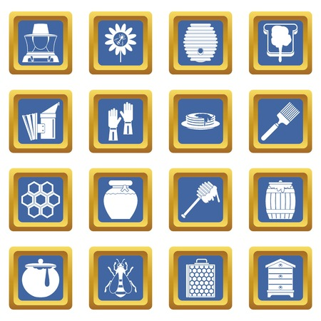 Apiary tools icons set in blue color isolated vector illustration for web and any design Illustration